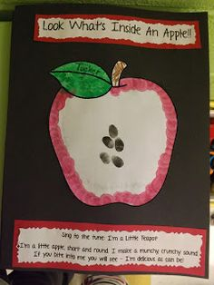 Apple Poem -- but would use an apple craft that labeled the parts of the apple (for poetry notebook) lots of other Apple crafts on this page too Preschool Apple Theme, Apple Activities, Fall Preschool, Preschool Crafts, Preschool Apples, Kindergarten Apples, Preschool Plans, K Crafts, Daycare Crafts