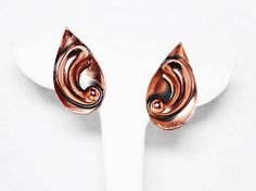 New Listings Daily - Follow Us for UpDates -  Description & Style:  Copper Teardrop Earrings, offered by the Jewelseeker on Etsy -  Mid Century #Modern Clip on's - #Vintage 1950's  - AS IS, the clips are loose and need t... #vintage #jewelry #teamlove #etsyretwt #ecochic #modern