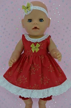 Play n Wear Doll Clothes To Fit 17  Baby Born RED XMAS DRESS~BLOOMERS~HEADBAND