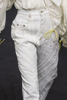 Mid-Rise Spiral Seam Stitch Boyfriend Fit Jeans Parachute Drawstring Taffeta Jacket in White Denim Fashion, High Fashion, Fashion Show, Womens Fashion, Fashion Trends, Fashion Stores, Jacquemus, Fashion Details, Fashion Design
