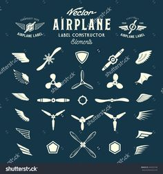 Abstract Vector Airplane Labels Or Logos Construction Elements. On Blue Background. - 334423100 : Shutterstock