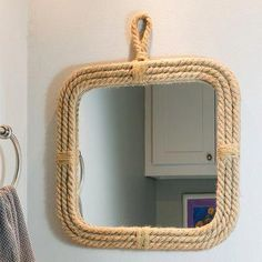 Breakwater Bay Bring laid-back, coastal style to any room with this square rope mirror. Framed with thick, hemp rope, this mirror creates a fun nautical statement that will easily pair with other wall art. Coordinates with the rectangle rope mirror. Nautical Bathroom Mirrors, Nautical Mirror, Wall Mirrors Set, Nautical Wall Decor, Nautical Rope, Hanging Mirrors, Bathroom Black, Mirror Bathroom, Mirror Without Frame