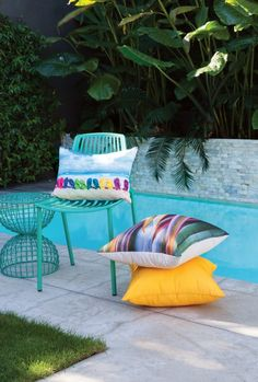 Kiwiana Cushion Collection by limon Kiwiana, Indoor Outdoor, Outdoor Decor, Outdoor Living Areas, Outdoor Cushions, Ottoman, Outdoor Furniture, Throw Pillows, Bed
