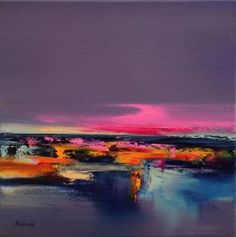 Lazy Sunday - 40 x 40 cm, abstract landscape oil painting, purple, orange, pink by Beata Belanszky Demko