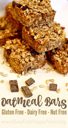 The whole family will love these oatmeal bars from Busy Kids Happy Mom! They are gluten free, dairy free, nut free, and so kid-friendly! They are great for breakfast, packing in a lunch box, or taking along for a snack. You'll find the recipe amounts for a double batch, too, because we think you'll want to double up! Great for the freezer, too!
