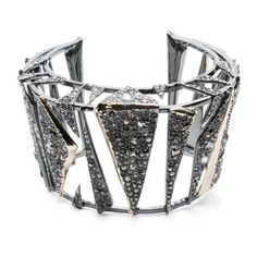 Alexis Bittar Two Tone Crystal Encrusted Origami Cuff (€325) ❤ liked on Polyvore featuring jewelry, bracelets, gold, alexis bittar bangle, gold jewellery, two tone bangles, two tone jewelry and gold bangles
