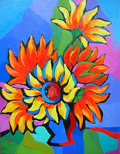 Abstract Sunflowers, original oil painting of flowers by artist Martina Shapiro