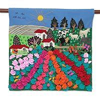 Applique wall hanging, 'Ancash Fields of Roses'