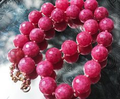 Chunky Pink African Ruby Statement Necklace Hand-knotted on Silk.