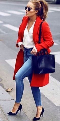 CLICK & BUY :) SHOP New red classy long women basic coat light autumn winter fall office casual elegant blue jeans work outfit white blouse fall outfit winter color coat style look red double breasted coat trendy outfit Jeans Outfit For Work, Casual Work Outfits, Work Casual, Classy Outfits, Classy Jeans Outfit, Stylish Outfits, Casual Chic, Casual Elegance, Komplette Outfits