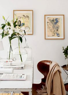 white desk and lilies | january intentions on coco kelley