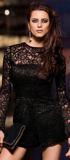 f3926cf8b05b Alexis Lace Romper ○ Stella McCartney Clutch All Black Dresses