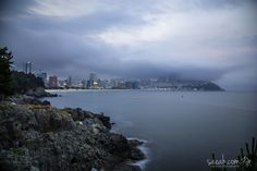 Fog A foggy evening at Haeundae Beach taken from Dongbaek Island Busan, South Korea