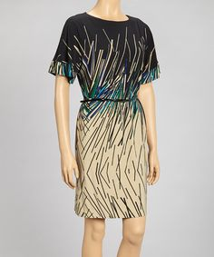 Take a look at this Black & Khaki Sticks Short-Sleeve Dress - Women by Robbie Bee on #zulily today!