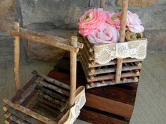 Wood Stick Twig Baskets Rustic Shabby Chic by justforkeeps on Etsy, $30.00
