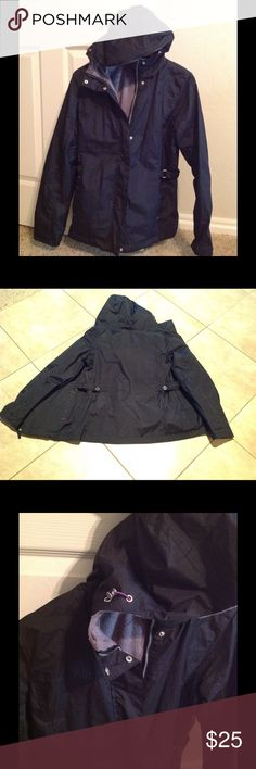 Rain windbreaker jacket Great quality material. No tag or brand but like new condition. For rain and wind locker! Inside pockets. Adjustable waist and hoodie! Great condition!! Size S/M Jackets & Coats Utility Jackets