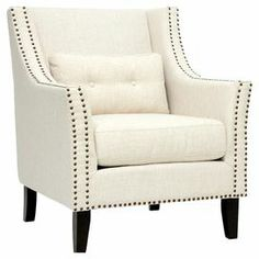 "A perfect addition to your living room or den, this foam-cushioned arm chair showcases a wood frame and nailhead-trimmed upholstery.  Product: Chair   Construction Material: Linen, polyester, birch wood and polyurethane foam       Color: Beige and black    Features: 20"" Seat height  Pillow includedNon-marking feet  Nailhead trim Removable cushions    Dimensions: 37"" H x 32"" W x 32"" D   Note: Assembly required Cleaning and Care: Spot clean only"