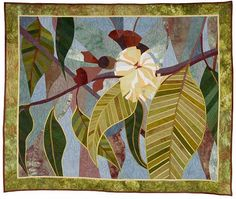 In My Portfolio: Eucalypt 2 - Ruth de Vos : Textile Artist Hanging Quilts, Quilted Wall Hangings, Flower Quilts, Landscape Quilts, Motif Floral, Small Art, Textile Artists, Silk Painting, Abstract Watercolor