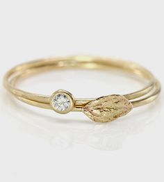 Diamond & Leaf Stacking Rings Set | A gorgeous treat for your index finger, these 14K gold ring co... | Rings