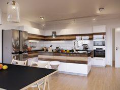 Walnut and white gloss kitchen