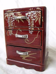 vintage miniature hand painted Japanese lacquer dollhouse chest 1:12 scale