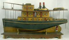 19th Century Folk Art  Boat- 25 Inches Long.