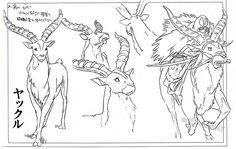 artbooksnat: Princess Mononoke (もののけ姫) animation materials by character designer Masashi Ando (安藤雅司) in the Mononoke Hime Roman Album (Amazon US | JP)
