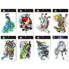 Long lasting and realistic temp tattoo stickers 8pcs mixes animal in a packages,including horse,phoenixes,wolf,colorful peacocks, tattoo * You can find more details by visiting the image link. (This is an affiliate link and I receive a commission for the sales) #Makeup