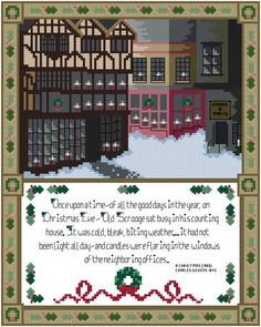 """A Dickens Christmas  Candles flaring in the windows of Victorian shops, snow blanketing the ground, and a festive wreath-and-holly border set the mood for Charles Dickens' """"A Christmas Carol"""" in this holiday pattern by Thomas Beutel."""