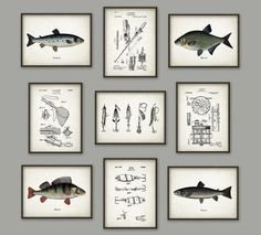 This set of nine wall hangings for a nautical-themed room. | 28 Gifts For People Who Love Fishing #patentartprints
