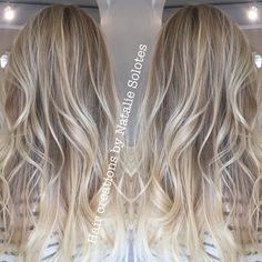 Baby blonde babylights highlights icy cool toned blonde for Summer long layered haircut seamless layers lived in hair and lived in haircolor soft beige ash Unite Haircare using Texturiza Spray and Expanda Dust