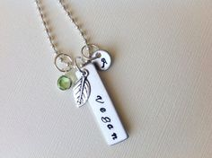 Personalized vegan necklace hand stamped by Stamptations on Etsy