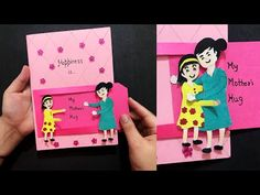 Learn how to create a beautiful handmade mothers day card. Dimensions : Light pink paper is a normal size paper. For slider - Dark pink is 15 cm in length. Crafts For Teens, Diy And Crafts, Paper Crafts, Craft Wedding, Wedding Cards, Slider Cards, Snacks For Work, Fathers Day Crafts, Pink Paper