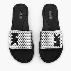 47449bef9bbd Michael Kors Slide Lasered Mirror Metallic Sandals Silver Size 8M New   MichaelKors  Slides Mk