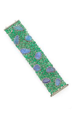 WOW! !! 18K White Gold Bracelet With Emeralds And Australian Opal by Nina Runsdorf for Preorder on Moda Operandi. #opal #bracelet #jewelry