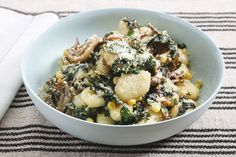Brown Butter & Thyme Gnocchi with Maitake Mushrooms, Corn & Swiss Chard. Visit https://www.blueapron.com/+to+receive+the+ingredients.