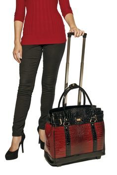 """""""THE LOTUS BLOSSOM"""" Burgundy & Black Alligator Rolling iPad, Tablet or Laptop Tote Briefcase or Carryall Bag by Laptop bag 