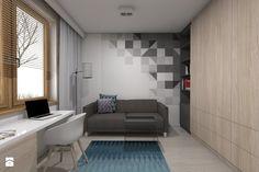 Projekt domu jednorodzinnego 1 - Gabinet, styl nowoczesny - zdjęcie od BAGUA Pracownia Architektury Wnętrz Wall Finishes, Interior Inspiration, Guest Room, Wall Decor, House Design, Studio, Table, Furniture, Home Decor