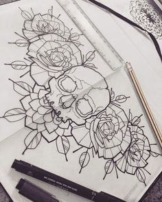 Chest Tattoo Flash, Chest Tattoo Sketches, Chest Tattoo Skull, Rose Chest Tattoo, Flash Tattoos, Skull Tattoos, New Tattoos, Love Tattoos, Beautiful Tattoos