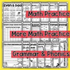2nd Grade Thanksgiving Worksheets: BOTH Math and Language Arts Review Bundle
