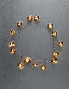 15 Copper Effect Moroccan Ball Shaped LED Lights | M&S