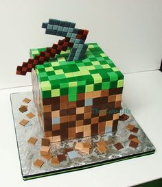 Minecraft Cake Che's bday.. Can I pull this off with an infant..