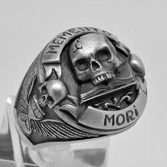 Handmade-Silver-925-Masonic-Skull-over-Book-034-Memento-Mori-034-Mens-Biker-Ring