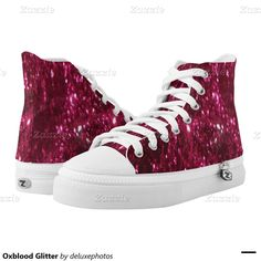 Oxblood Glitter Printed Shoes