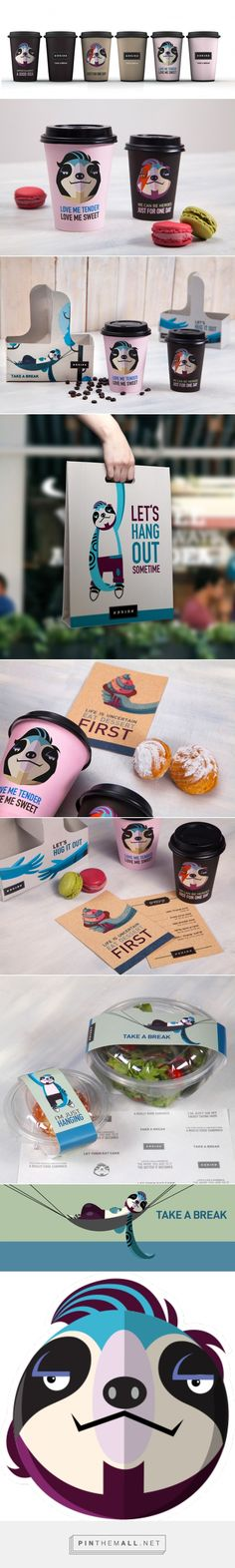 Packaging and branding for Break Coffee Shop by Plan b creative team curated by Packaging Diva PD. Easy is a common urban selfie sloth who performs as brand's main character peeping everywhere on take out boxes, posters, walls, windows, coffee cups and ev Web Design, Cafe Design, Logo Design, Cool Packaging, Brand Packaging, Packaging Design, Vintage Logo, Vintage Design, Creative Logo