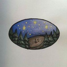 Paw print  #paw #pawprint #stars #night #starrynight #pinetrees #forest #hill #illustration #miniature #alexnandy