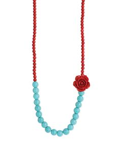 Another great find on #zulily! ZAD Red & Turquoise Rose Beaded Necklace by ZAD #zulilyfinds