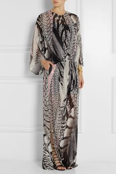 Roberto Cavalli | Printed silk-georgette maxi dress | NET-A-PORTER.COM