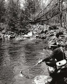 """Trout Fishing, Mill Brook, Lunenburg County""Source: Nova Scotia Information Service"