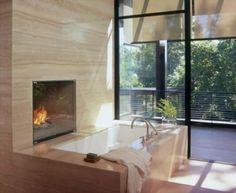Badezimmer Designs mit Einbaukamine 2025
